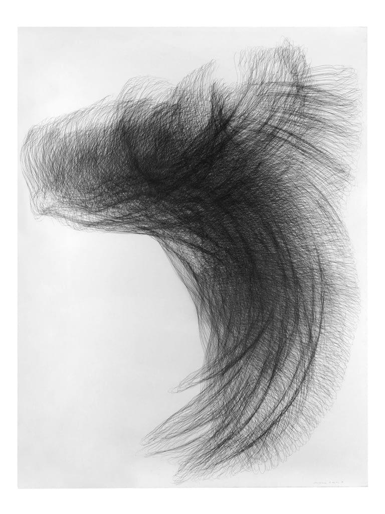 """Flügel II"", 1994, Bleistift auf Büttenpapier, 140 x 107 cm"