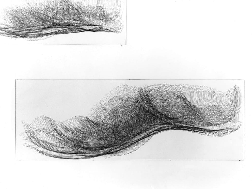 """""""Zwölfender I"""", 1993, Bleistift auf Papier, je 59.5 x 168 cm"""