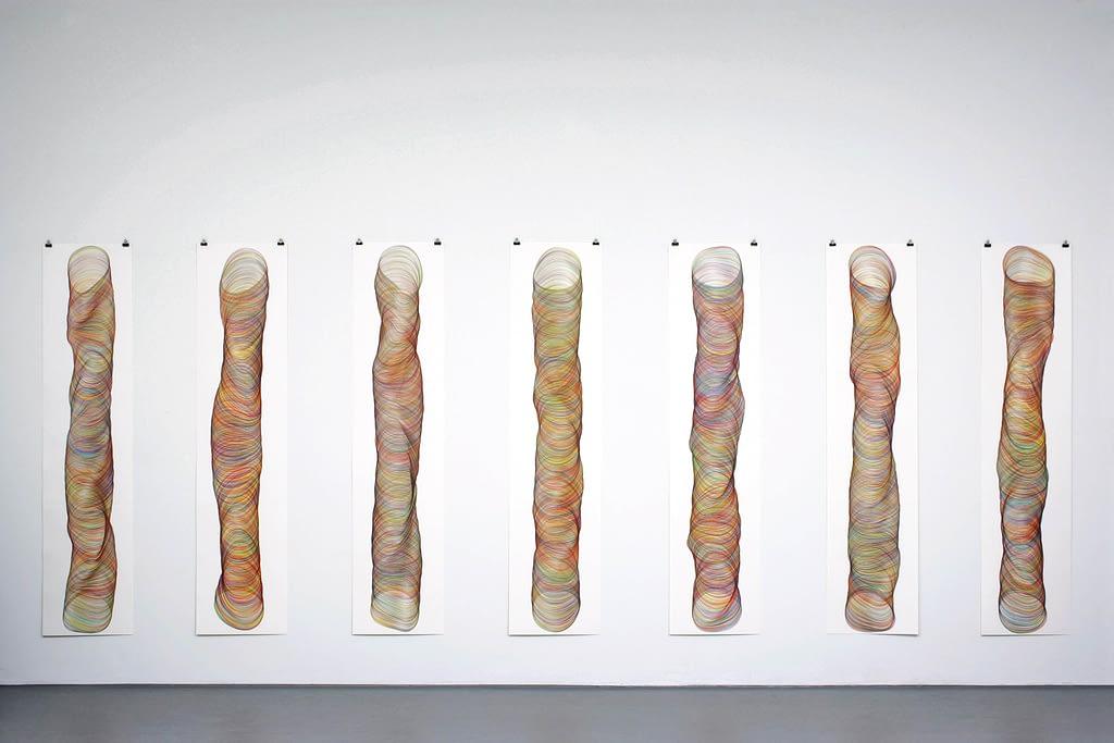 """""""Zeitlos II"""", 2009, Farbstift auf Papier, je 178.2 x 42 cm"""
