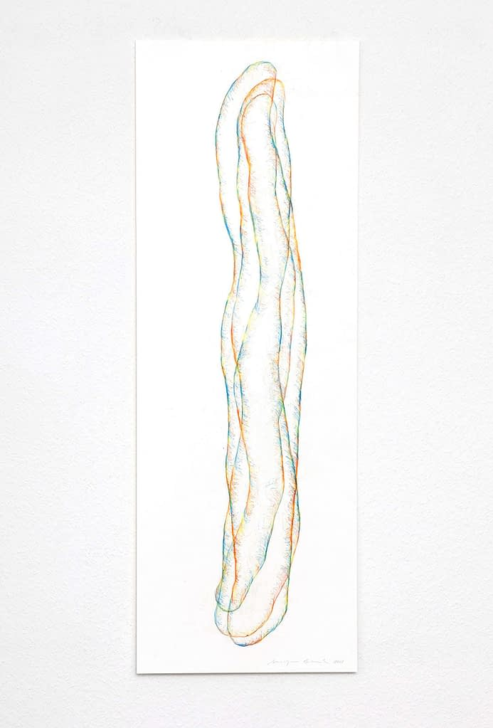 """Transparent"", 2018, 5-teilig, Farbstift auf Papier, 100 x 35 cm, Blatt 2"