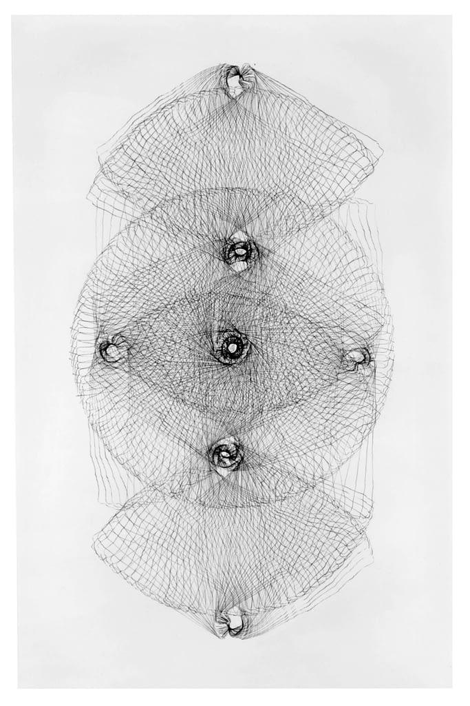 """Aus der Werkgruppe """"Tönende Steine"""", 1991, Kohle auf Papier, je 175 x 105 cm"""