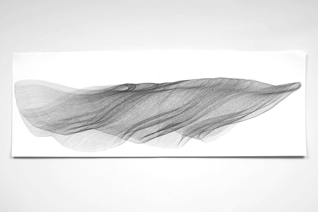 """Aus der Werkgruppe """"Fliessgestalten"""", 2009, Bleistift auf Papier, 59.4 x 168.2 cm"""