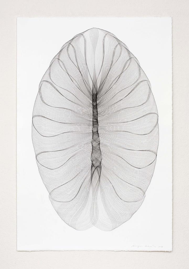"""Aus der Serie """"Pantoffeltierengel"""", 2018, Bleistift auf Büttenpapier, 120 x 81 cm"""