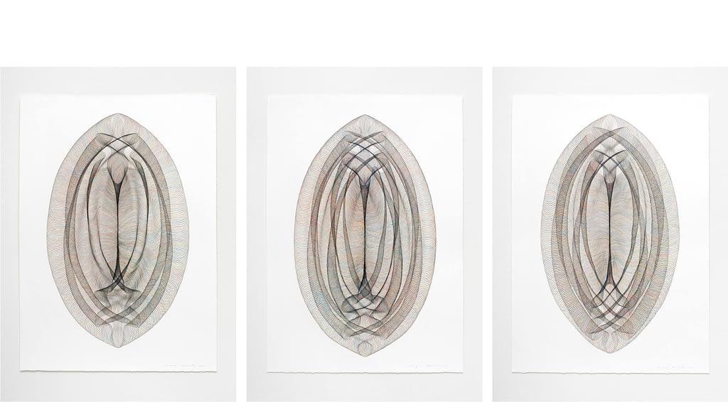 """Auswahl aus der Serie """"Portale"""", 2020, Farbstift und Bleistift auf Büttenpapier, je 105 x 75 cm"""