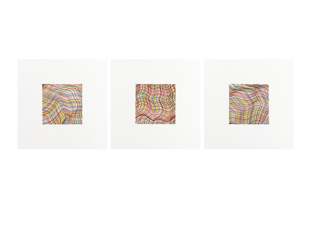 Aus der Werkgruppe «Bunt gewebt», 2021, Filzstift auf Papier, 36 x 36 cm