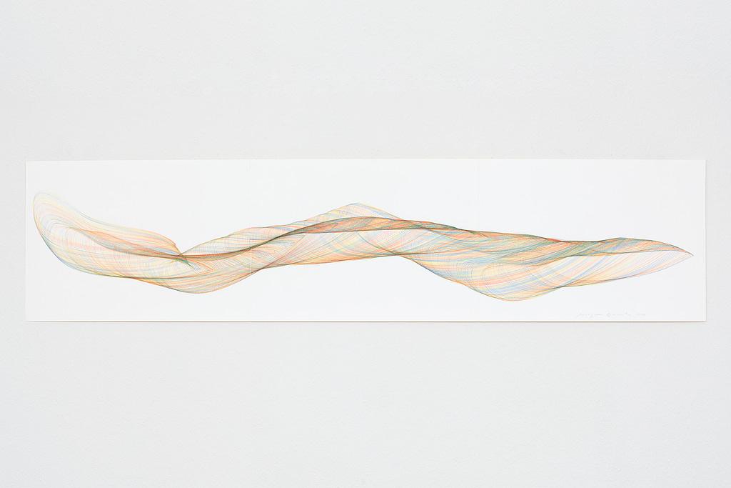 Aus der Werkgruppe «Farbig gedreht», 2020, Farbstift auf Papier, 29.7 x 126 cm