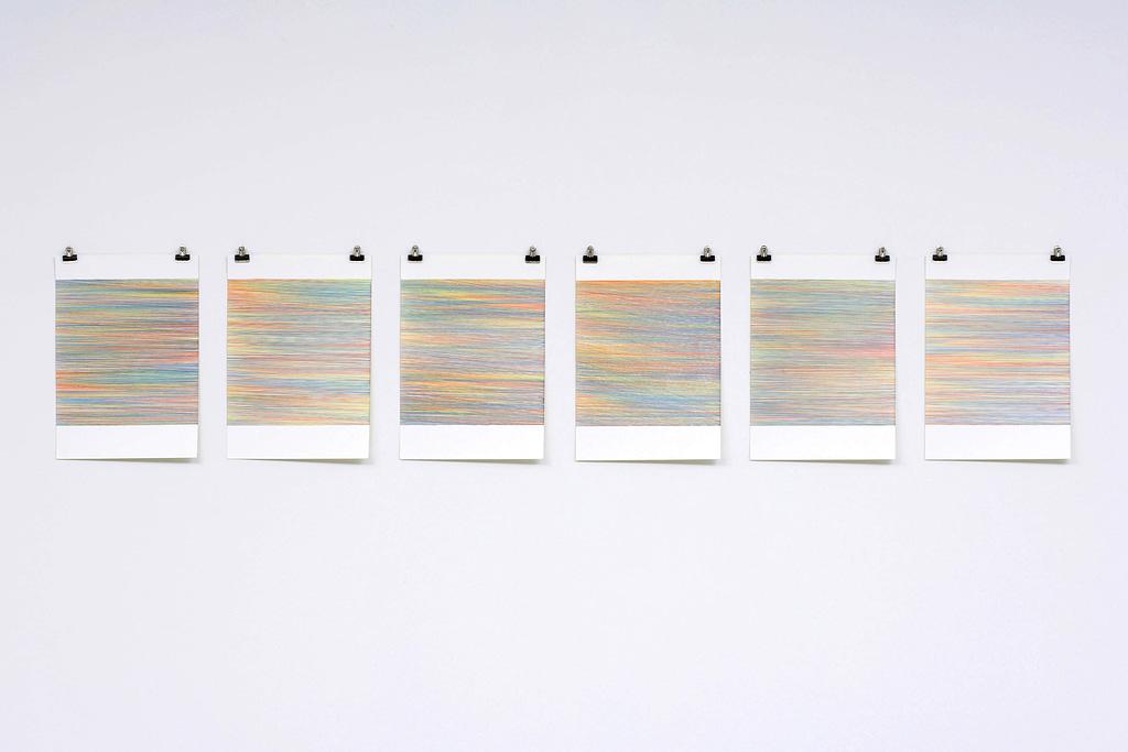 """Farbenmeer II"", 2007, Farbstift auf Papier, 7-teilig, je 59.4 x 42 cm"