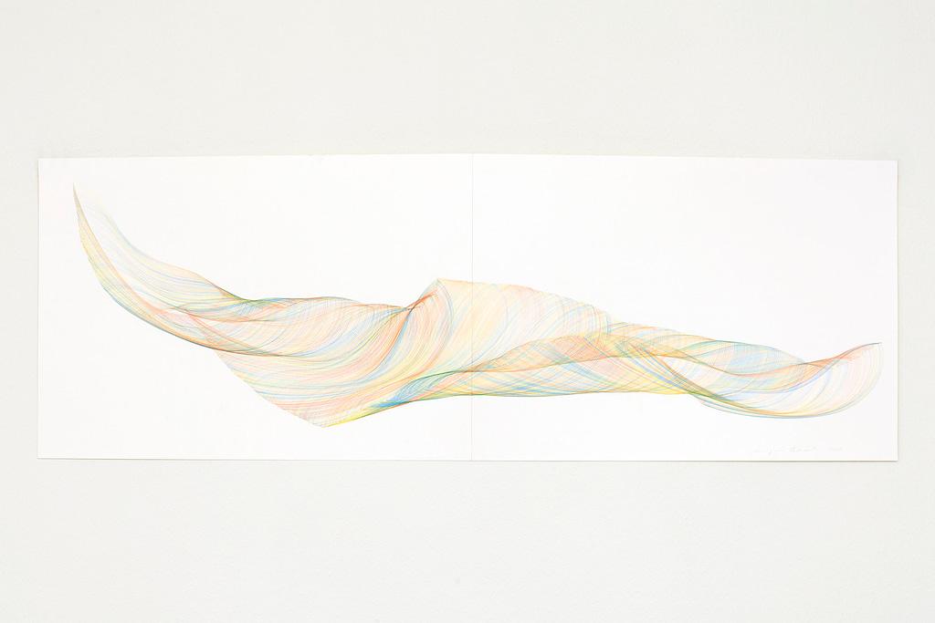 Aus der Werkgruppe «Farbig gedreht», 2020, Farbstift auf Papier, 48.8 x 140 cm