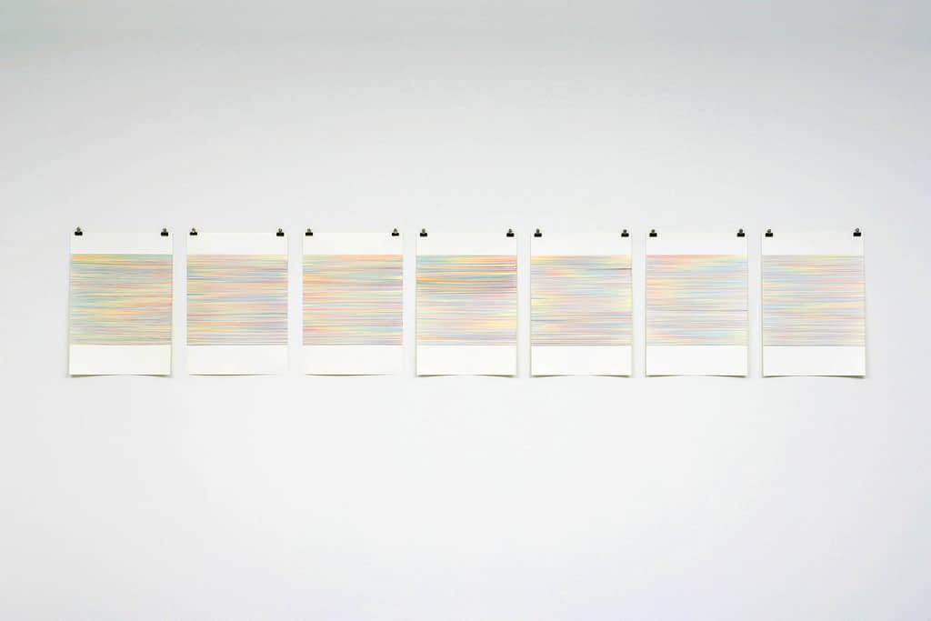 """Farbenmeer I"", 2007, Farbstift auf Papier, 7-teilig, je 59.4 x 42 cm"