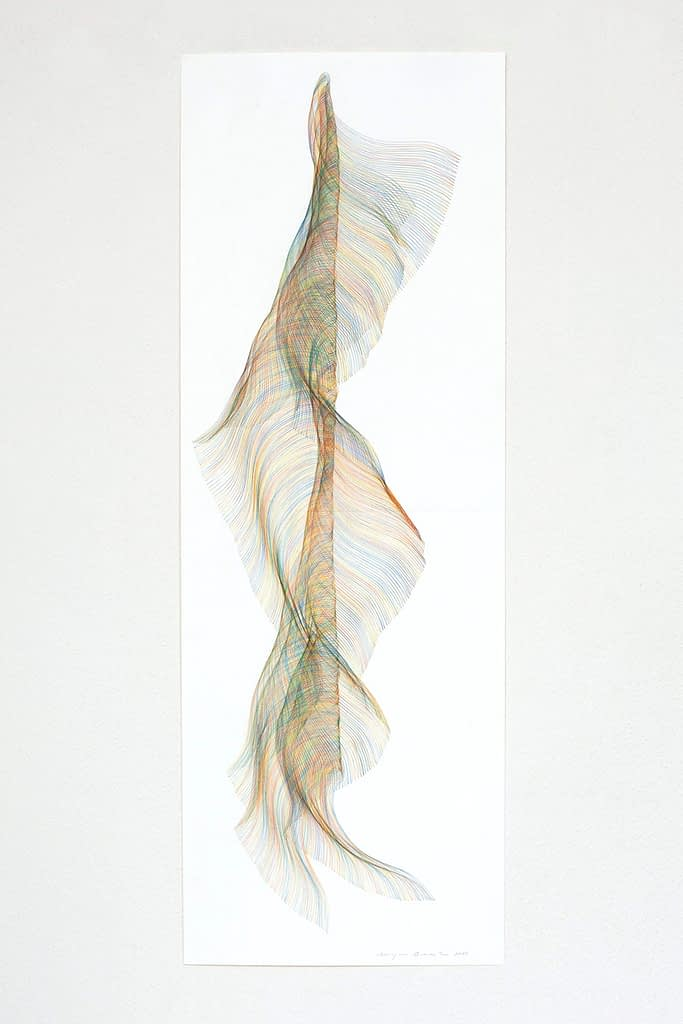 """Aus der Werkgruppe """"Traumtanz"""", 2020, Farbstift auf Papier, 118.8 x 42 cm"""