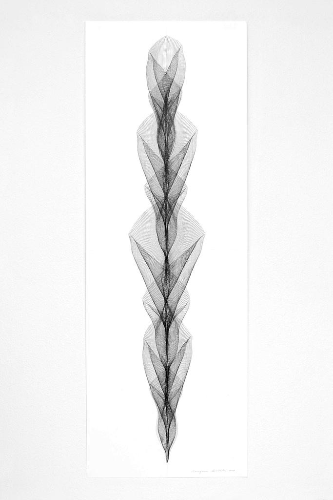 """Aus der Werkgruppe """"Aufrecht"""", 2019, Bleistift auf Papier, 168.2 x 59.4 cm"""