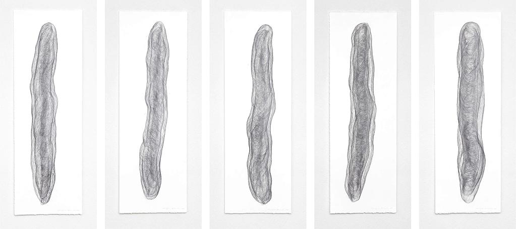 """Auswahl aus der Serie """"Umhüllt"""", 2018, Bleistift auf Büttenpapier, je 120 x 40.2 cm"""
