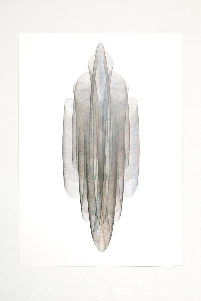 Aus der Serie «Onduliert», 2021, Farbstift und Bleistift auf Papier, 100 x 70 cm