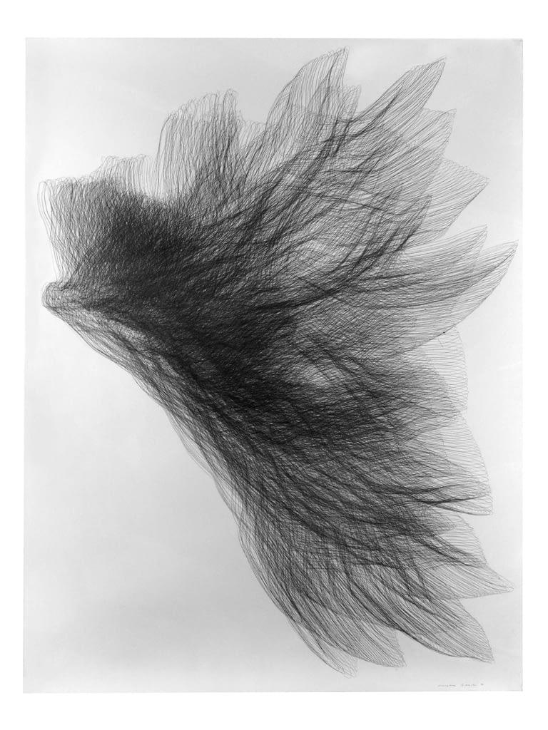 """Flügel I"", 1994, Bleistift auf Büttenpapier, 140 x 107 cm"