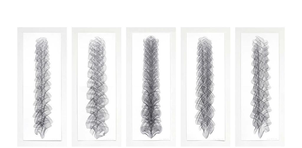 """Auswahl aus der Serie """"Crescendo"""", 2020, Bleistift auf Papier, je 168.2 x 59.4 cm"""