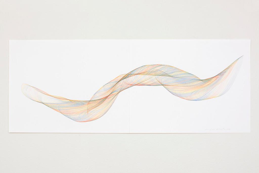 Aus der Werkgruppe «Farbig gedreht», 2020, Farbstift auf Papier, 50 x 130 cm