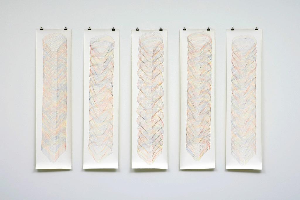 """Klangräume"", 2008, Farbstift auf Büttenpapier, je 141 x 35 cm"