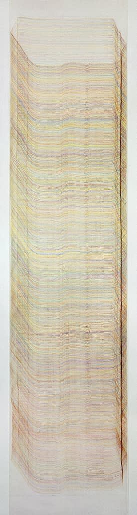 """""""Steinsäule I"""", 1991, Farbstift auf Transparentpapier, 140 x 35 cm"""
