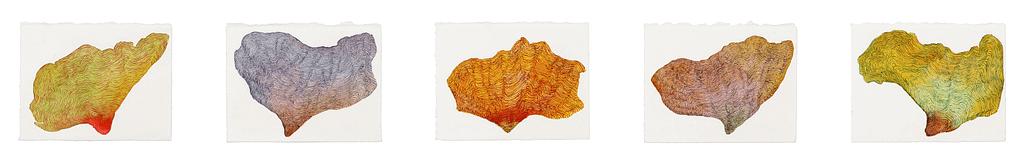 """Auswahl aus der Serie """"Schmetterlingslaub"""", 2012, Aquarell und Tusche auf Büttenpapier, je 9 x 12 cm"""
