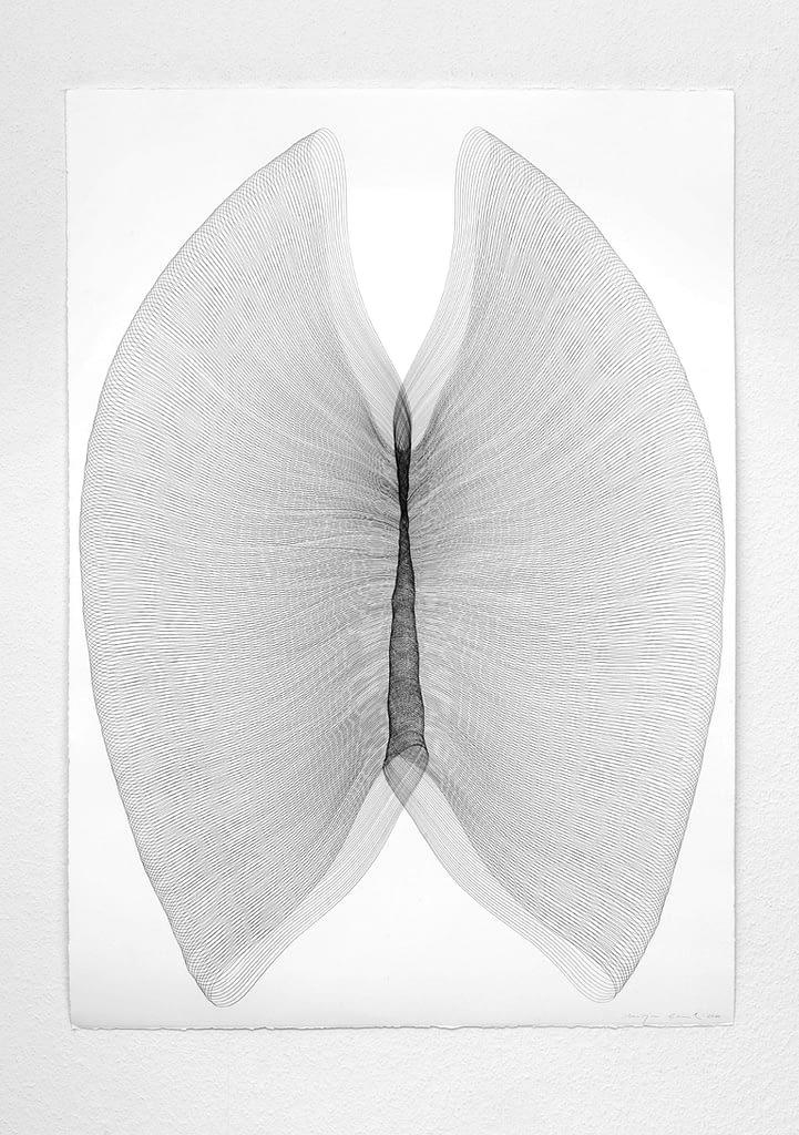 """Aus der Serie """"Aufgespannt"""", 2010, Bleistift auf Büttenpapier, 106 x 75.5 cm"""