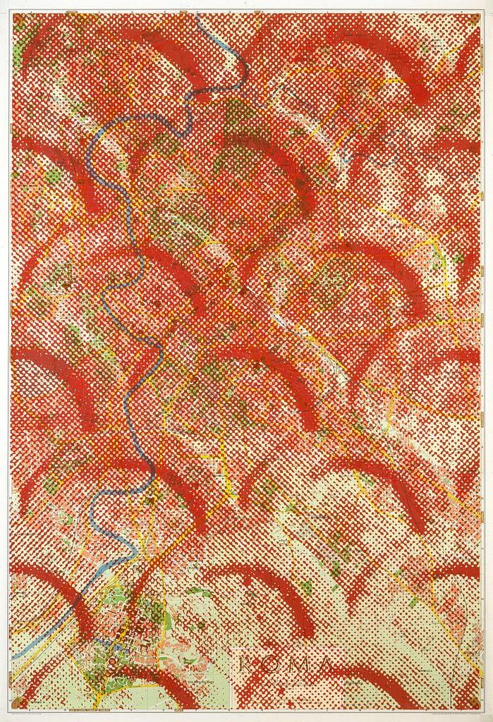 """Aus der Werkgruppe """"Roma"""", 1990, Mixed Media auf Stadtplan von Rom, 112 x 75 cm"""