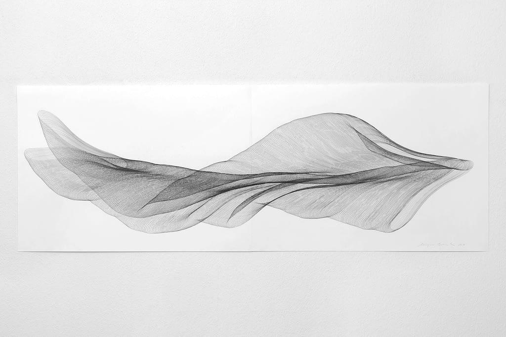 """Aus der Werkgruppe """"Fliessgestalten"""", 2014, Bleistift auf Papier, 59.4 x 168.2 cm"""