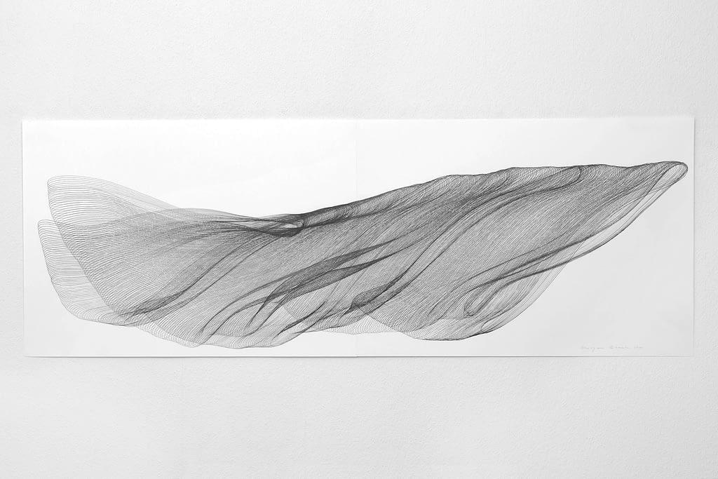 """Aus der Werkgruppe """"Fliessgestalten"""", 2010, Bleistift auf Papier, 59.4 x 168.2 cm"""