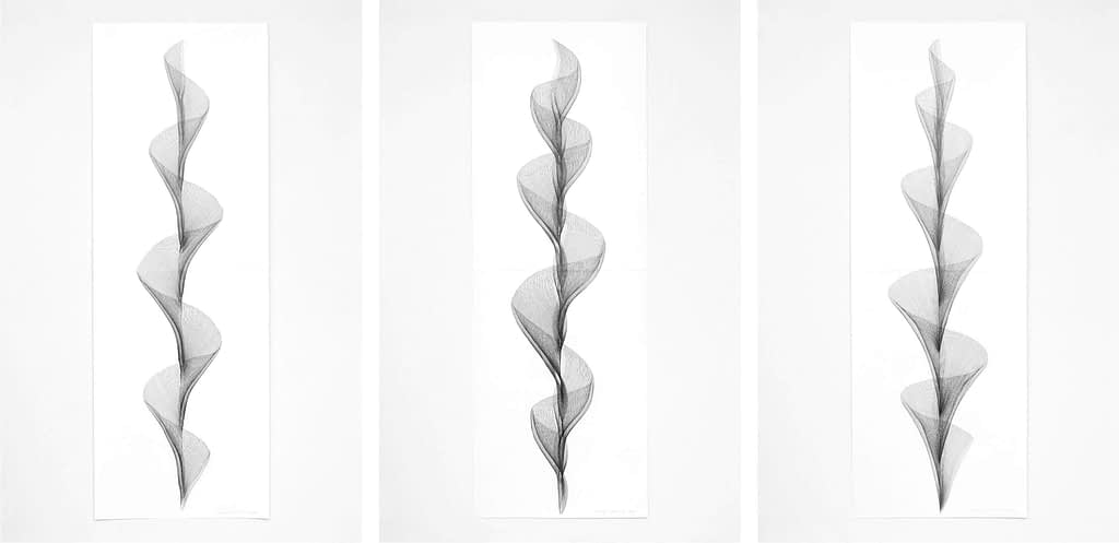 "Serie ""Beschwingt"", 2019, Bleistift auf Papier, je 168.2 x 59.4 cm"