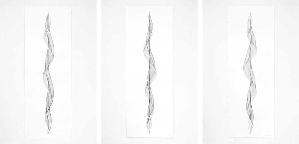 """Auswahl aus der Serie """"Fliessend I"""", 2019, Bleistift auf Papier, je 168.2x59.4 cm"""