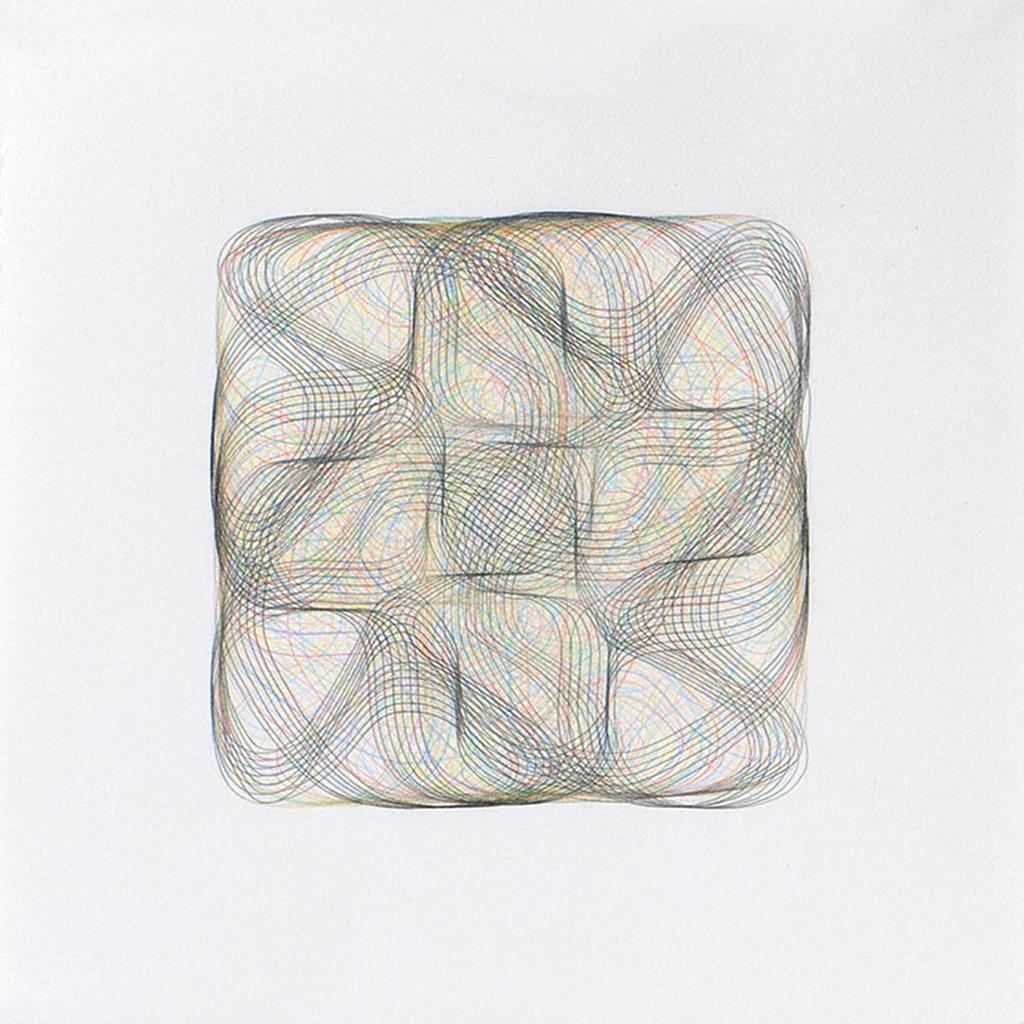 Aus der Serie «Flechtwerk», 2020, Farbstift und Bleistift auf Büttenpapier, 27 x 27 cm