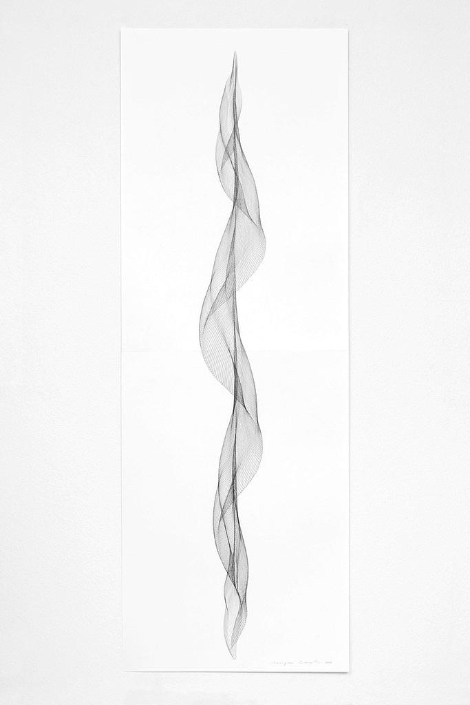 """Aus der Serie """"Fliessend I"""", 2019, Bleistift auf Papier, 168.2 x 59.4 cm"""