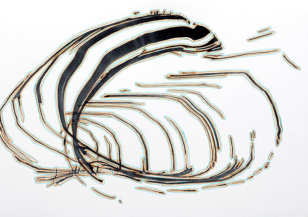 """Aus der Werkgruppe """"Momente"""", 2020, Tusche und Filzstift auf Papier, 21 x 29,7 cm"""