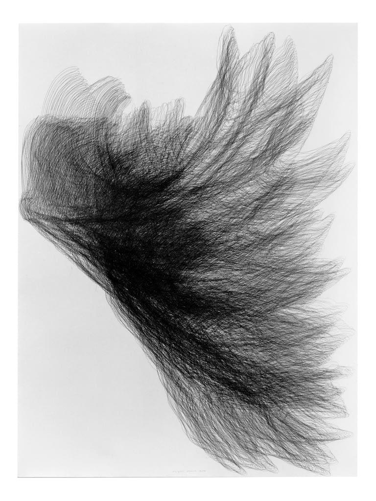 """Flügel V"", 1994, Bleistift auf Büttenpapier, 140 x 107 cm"