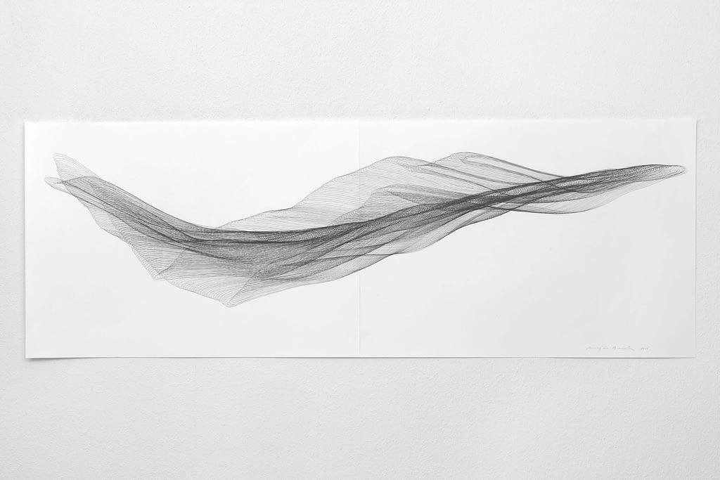 """Aus der Werkgruppe """"Fliessgestalten"""", 2015, Bleistift auf Papier, 59.4 x 168.2 cm"""