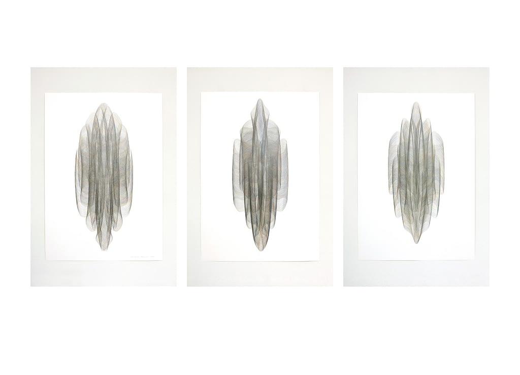 Auswahl aus der Serie «Onduliert», 2021, Farbstift und Bleistift auf Papier, je 100 x 70 cm
