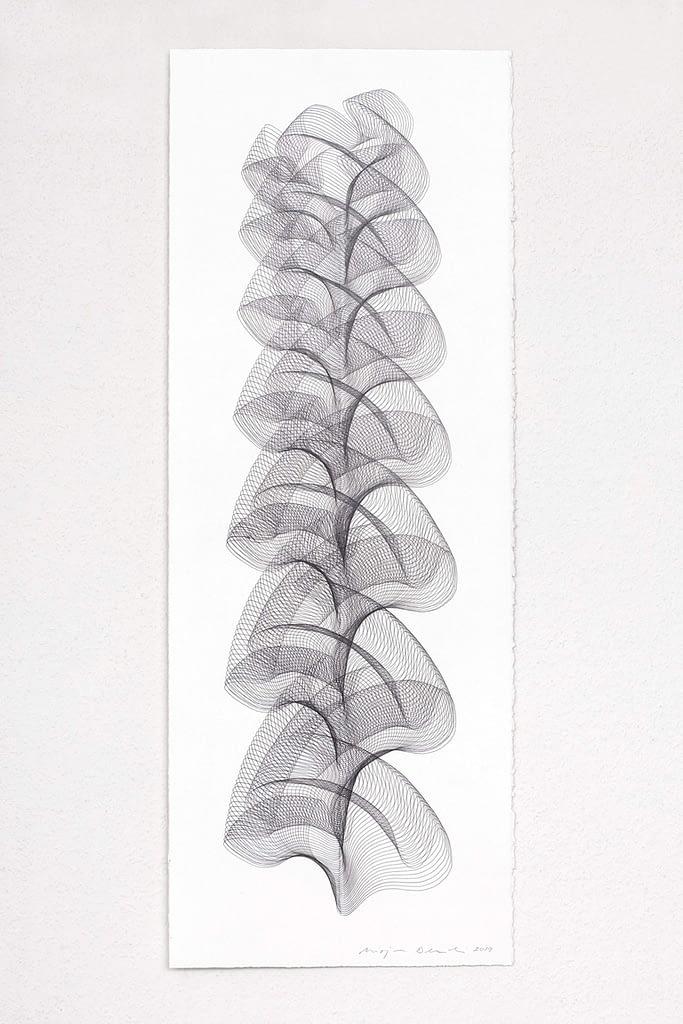 """Aus der Serie """"Wechselweise"""", 2019, Bleistift auf Büttenpapier, 75.5 x 28.5 cm"""