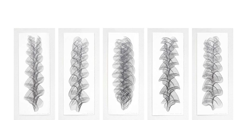 """Serie """"Wechselweise"""", 2019, Bleistift auf Büttenpapier, je 75.5 x 28.5 cm"""