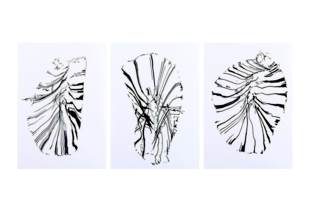 Auswahl aus der Werkgruppe «Zeichen», 2020, Tusche und Filzstift auf Papier, 42 x 29.7 cm
