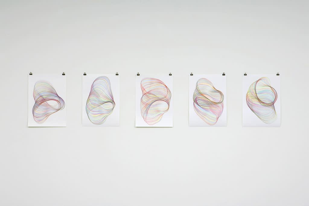 """""""Verschlaufen"""", 2008, Farbstift auf Papier, je 59,4 x 42 cm"""