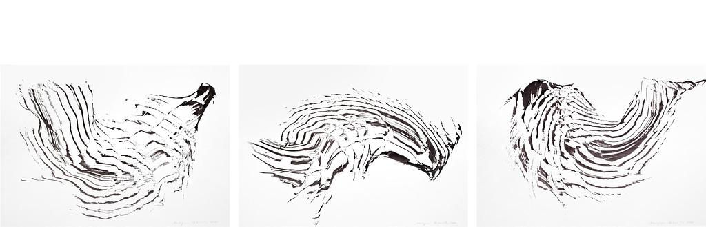 """Auswahl aus der Werkgruppe """"Kois"""" 2020, Tusche auf Papier, je 42 x 49,4 cm"""