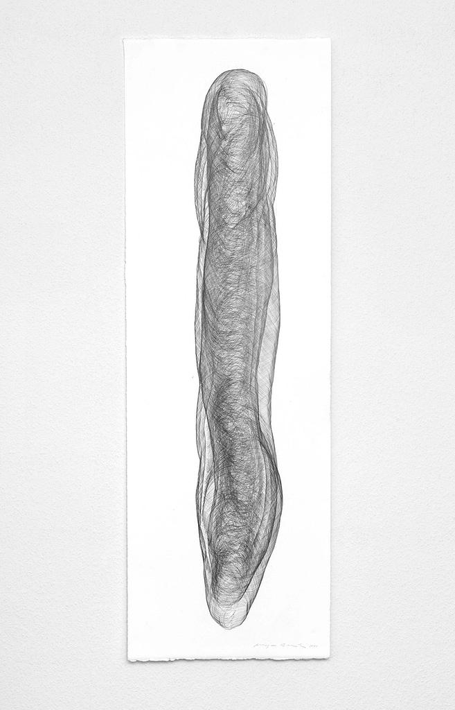 """Aus der Serie """"Umhüllt"""", 2018, Bleistift auf Büttenpapier, 120 x 40.2 cm"""