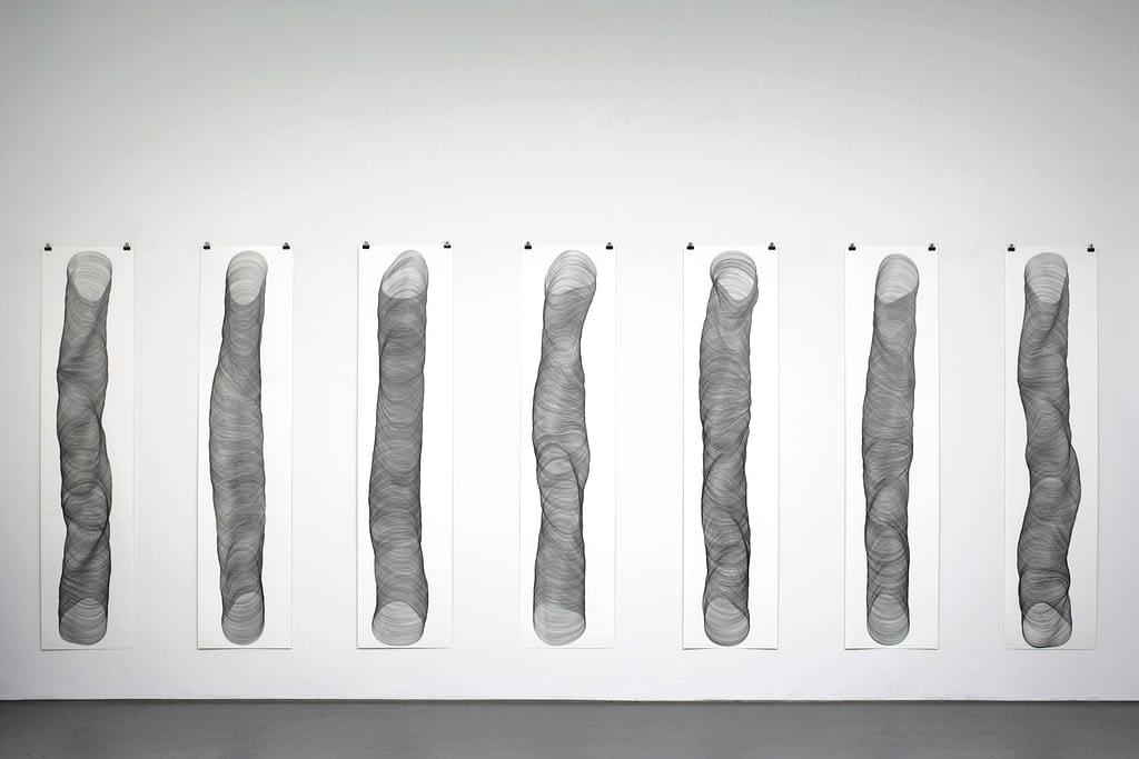"""""""Zeitlos I"""", 2009, Bleistift auf Papier, je 178.2 x 42 cm"""