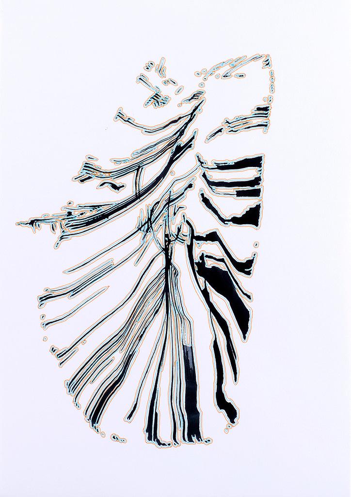 Aus der Werkgruppe «Zeichen», 2020, Tusche und Filzstift auf Papier, 42 x 29.7 cm