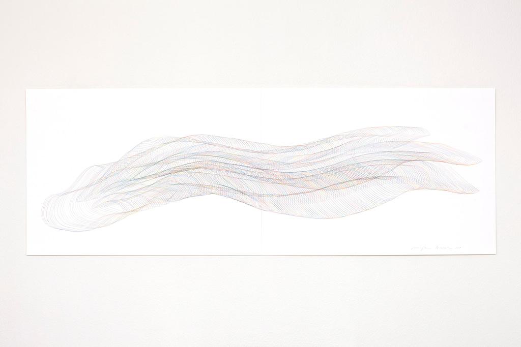 Aus der Werkgruppe «Strömend», 2021, Farbstift auf Papier, 59.4 x 168.2 cm