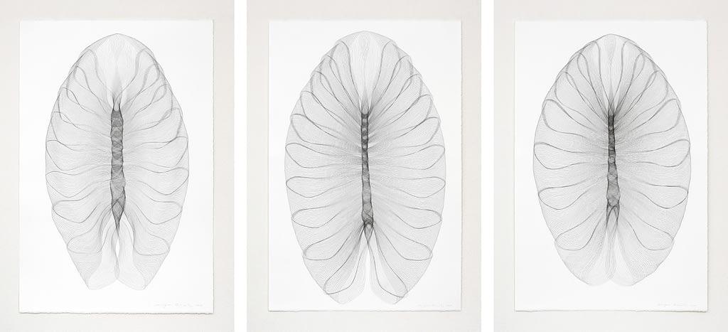 """Auswahl aus der Serie """"Pantoffeltierengel"""", 2018, Bleistift auf Büttenpapier, je 120 x 81 cm"""