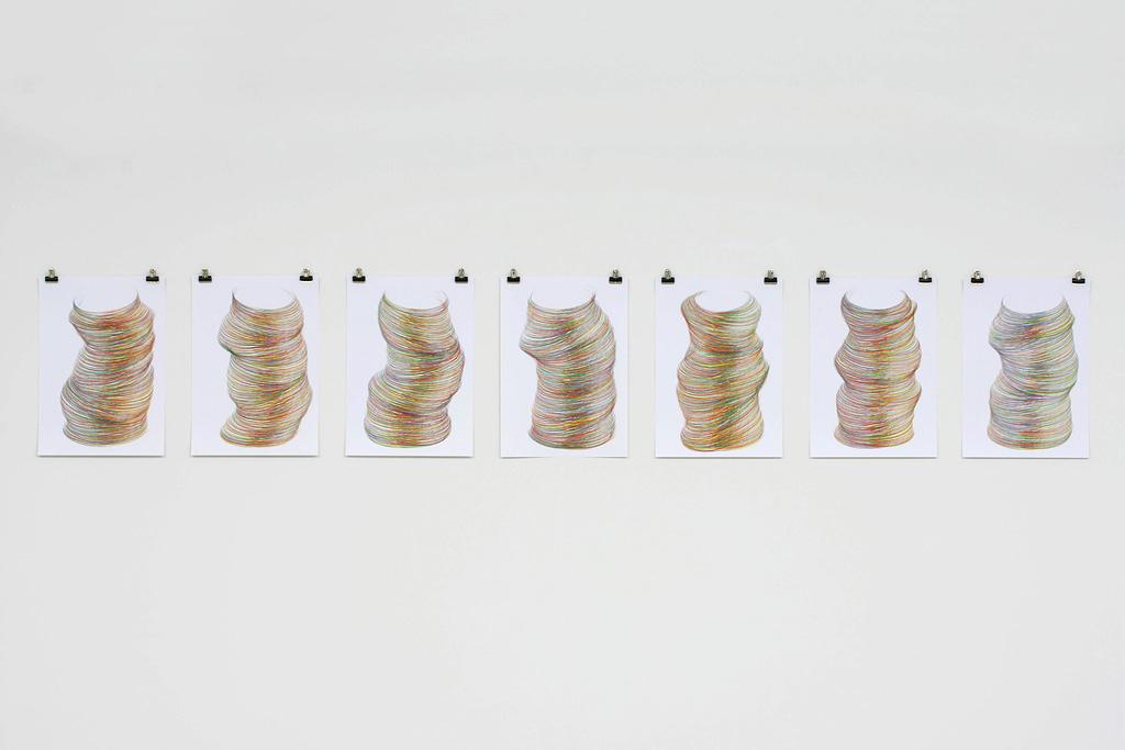 """""""Vielleicht II"""", 2007, Farbstift auf Papier, 7-teilig, je 42 x 29.7 cm"""