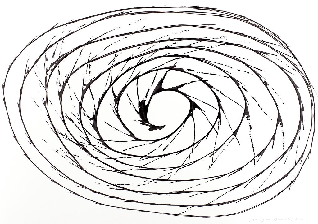 Aus der Serie «Schwungvoll», 2020, Tusche auf Papier 42 x 59.4