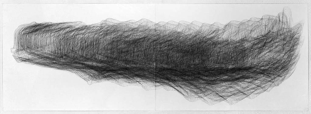 """""""Elchschaufel"""", 1994, Bleistift auf Papier, 59.4 x 168 cm"""
