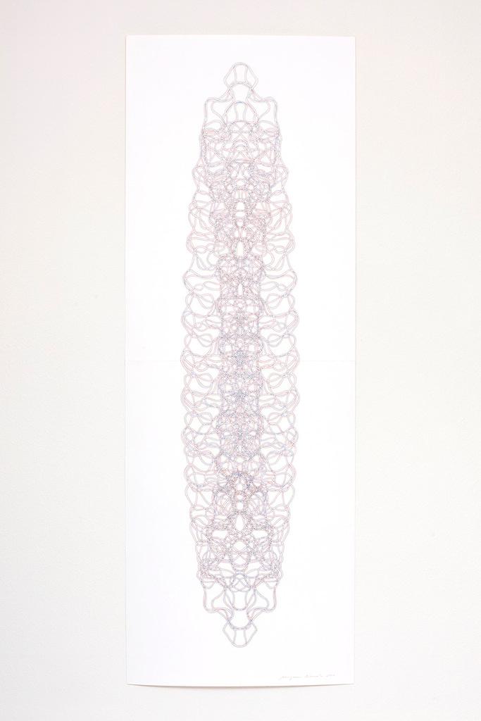 Aus der Serie «Tragend», 2021, Filzstift auf Papier, 168.2 x 42 cm