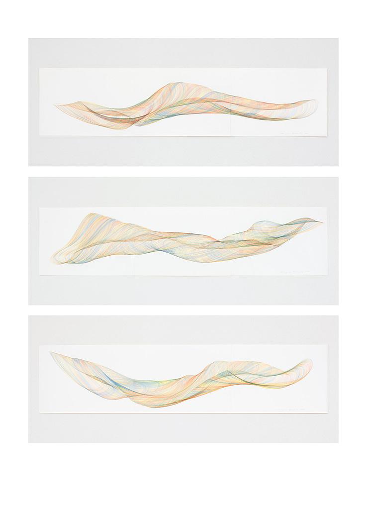 Auswahl aus der Werkgruppe «Farbig gedreht», 2020, Farbstift auf Papier, je 29.7 x 126 cm